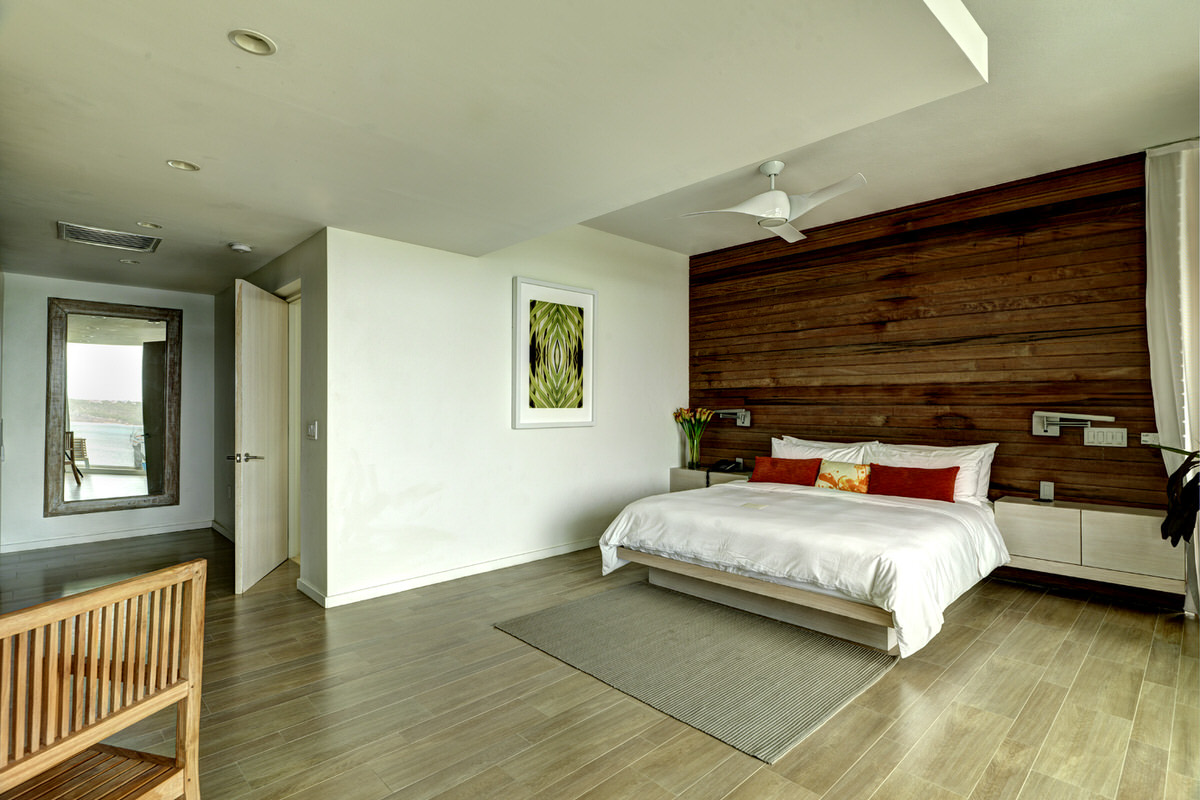 The spacious master bedroom suite