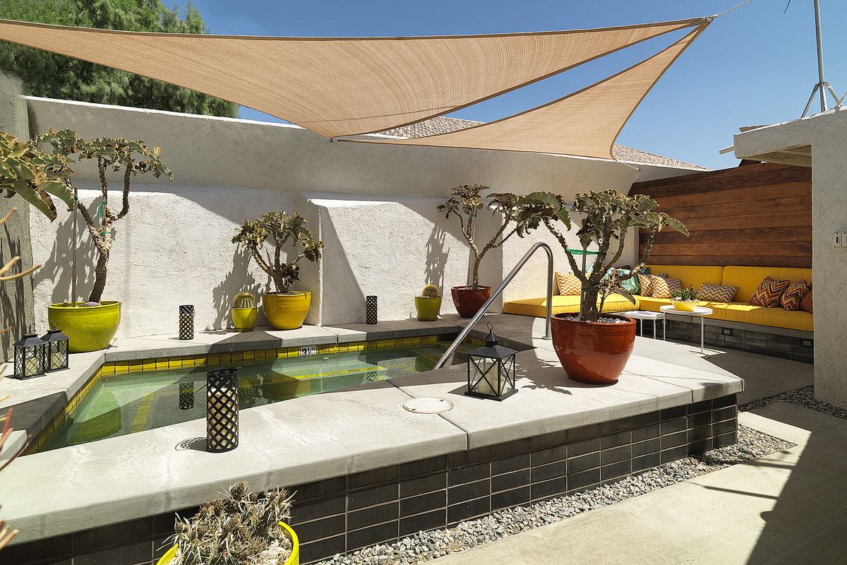 palm springs, lautner hotel, small private pool, shading small pool