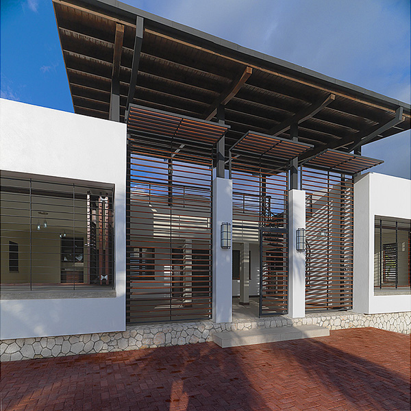 The front entrance with timber louver sunscreen and upper viewing gallery