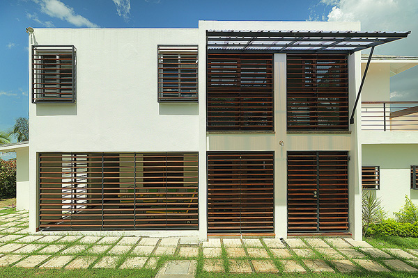 The rear elevation with timber louver sunscreens