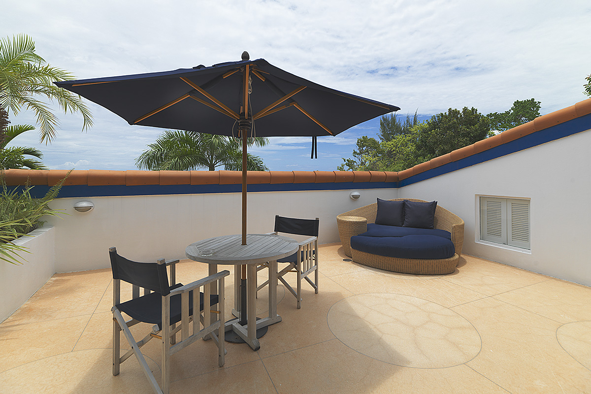 Private room patio overlooking Caribbean
